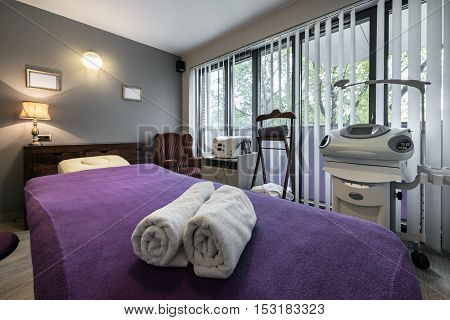 Massage room interior design in wellness and spa center