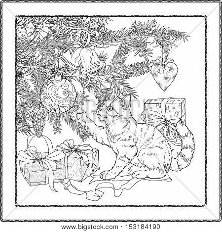 Black and white illustration of christmas tree, presents and playful cat. Coloring page.