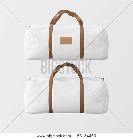 Sport fashion white bag with brown handles isolated at clean background.Highly detailed texture materials in square photo.Empty mockup label on the front side.Double sided mock up.3D rendering.