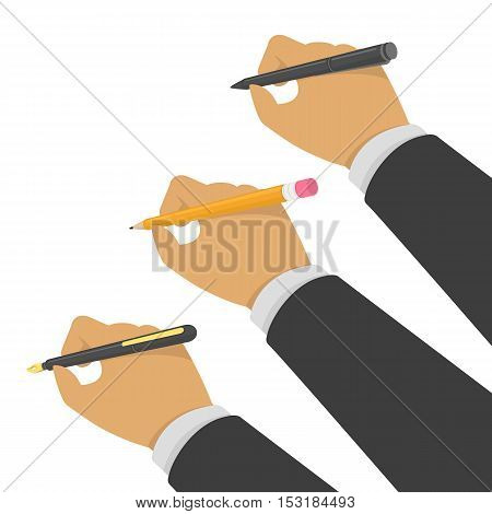 Hands holding pen, pencil and fountain pen. Vector illustration in flat style. Writer, journalist, student or education concept. Hand writing man.