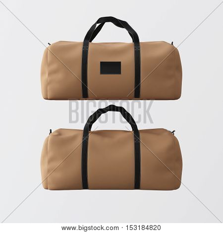 Sport fashion bag of brown color with black handles isolated at white background.Highly detailed texture materials in square photo.Empty mockup label on front side.Double sided mock up.3D rendering.