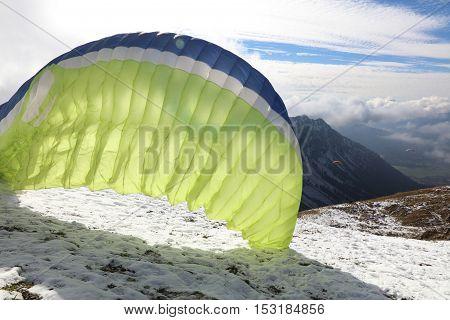 Paraglider at Nebelhorn in Oberstdorf. Bavaria. Germany