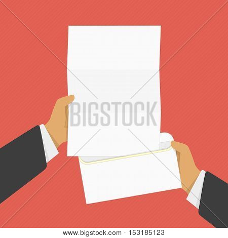 Hand holding blank letter from the open envelope. Concept of notice, display, contract notify, announce or postcard. Vector illustration flat design. Mail concept.