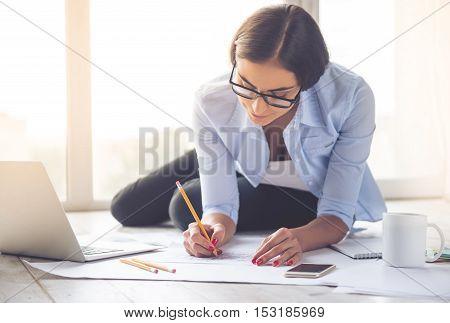 Beautiful Business Lady Working