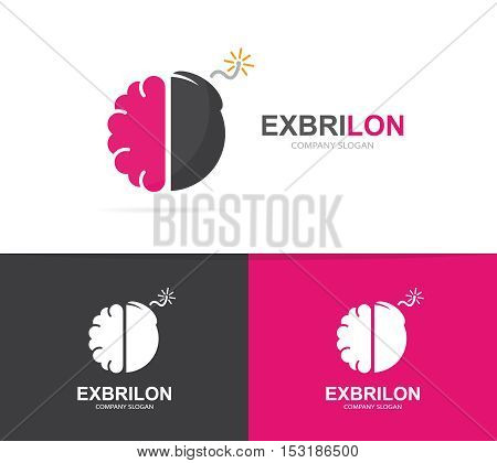 Vector logo combination of a brain and bomb. Brainstorm and science logo. Mind and bomb symbol or icon. Unique psychology and innovation logo design template. Creative brain bomb logo.
