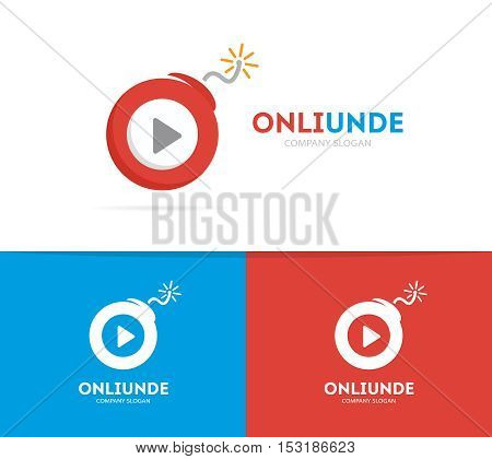 Vector logo combination of a play button and bomb. Audio and video logo. Media and bomb symbol or icon. Unique record and dynamite logo design template. Creative play button bomb logo.