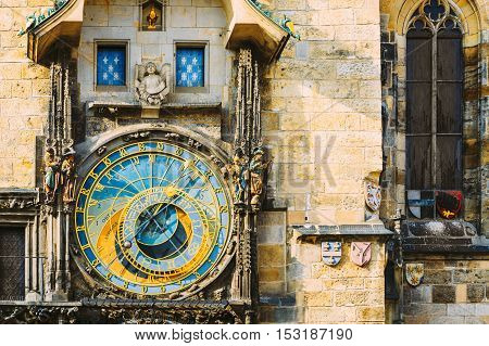 Prague Astronomical Clock or Orloj At Old Town City Hall, Czech Republic. Close Up