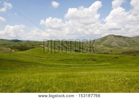 Buzau Romania rural landscape with blue sky - Summer time in country side