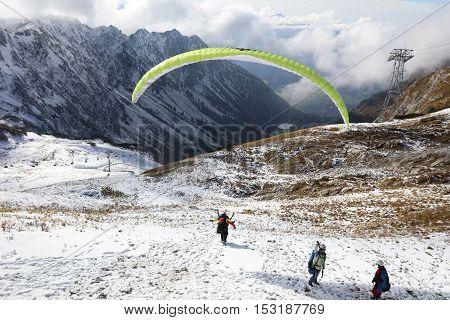 Oberstdorf, Germany - October 22, 2016: Paraglider at Nebelhorn in Oberstdorf. Bavaria. Germany