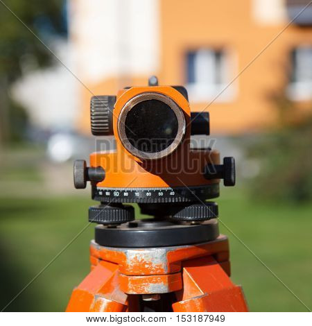 Land Surveyor equipment theodolite in construction site