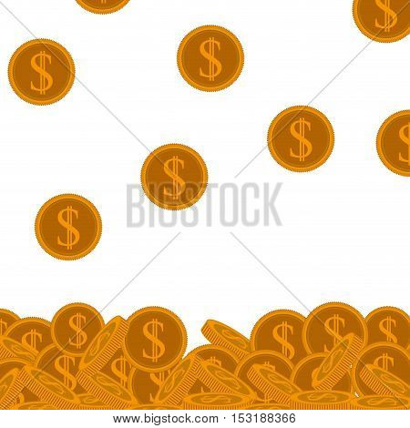 money gold coins and white background . vector illustration