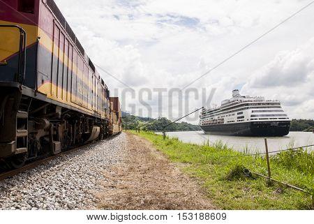 MS Zaandam - Holland America Cruise Line Ship in Panama Canal - 23.10.2013