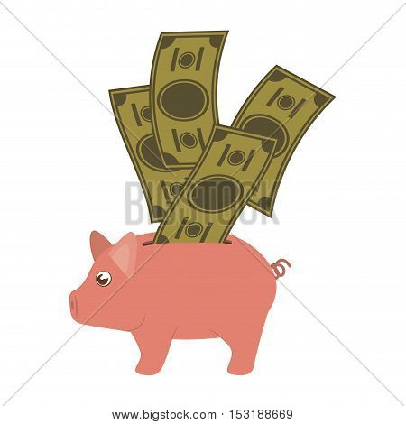piggy moneybox with green bills icon over white background. vector illustration