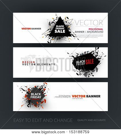 Vector set of modern horizontal website banners with Black Friday sale inscription design template, marketing price tag, discount, advertising, explosion. Clean web headers design.