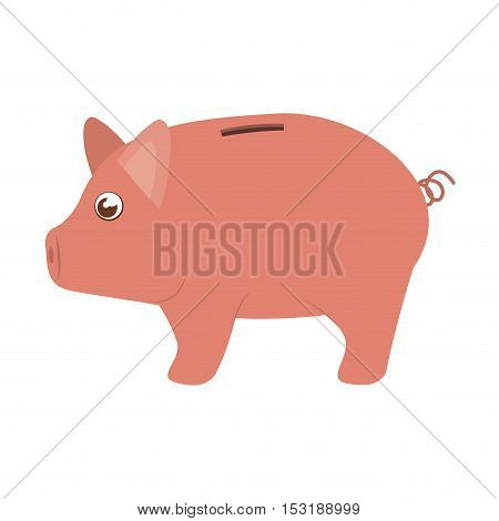 piggy moneybox cartoon icon over white background. vector illustration