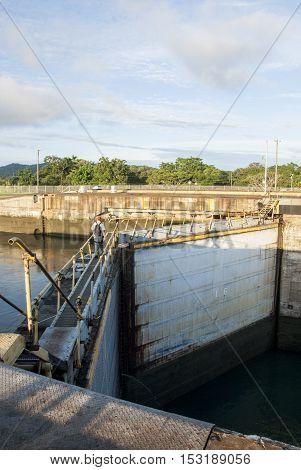 Panama Canal - Gatun Locks in a summer cloudy day