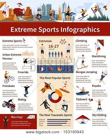 Flat design infographics presenting information about popular and most traumatic extreme sports vector illustration