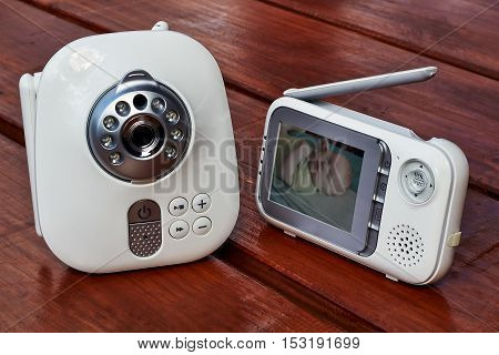 The close up baby monitor for security of the baby