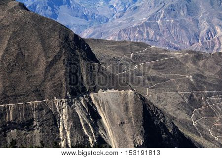 Cotahuasi Canyon Peru with dead road leading into deep canyon. one of the deepest and most beautiful canyons in the world