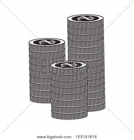 money coins stack over white background. vector illustration