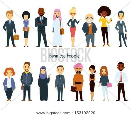Multinational business professional characters with elements of ethnic clothes isolated vector illustration