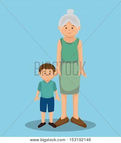 grandmother avatar character member vector illustration design