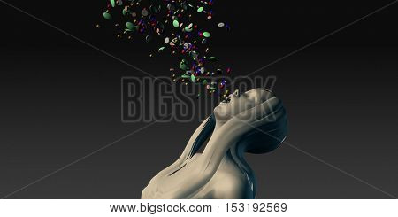 Weightloss or Weight Loss Danger with Woman Taking Pills 3D Illustration Render