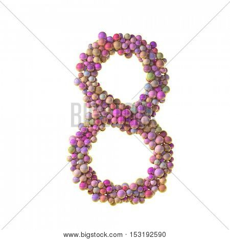 bubbles numbers 8, eight,3d illustration