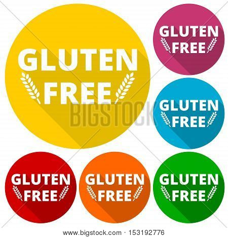 Gluten free icons set with long shadow