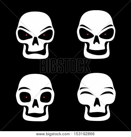Simple illustration of white skull with red eyes who shows different emotion isolated on black background, grim Reaper face