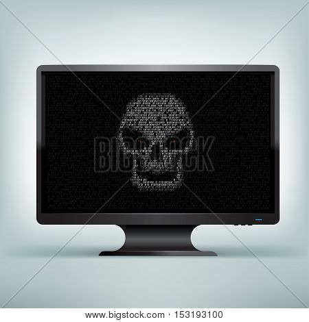 Programming code shows hacker skull with red eyes on black computer monitor on light mesh background. The computer was hacked