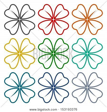 Four Leaf Clover icons set on white background