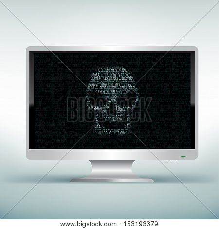 Programming blue code shows hacker skull on white computer monitor on light mesh background. Hacked computer