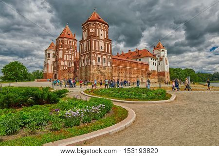 MIR, BELARUS - 15 JUNE 2016: Mir Medieval Castle of Belarus