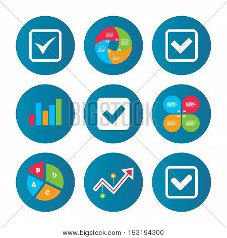 Business pie chart. Growth curve. Presentation buttons. Check icons. Checkbox confirm squares sign symbols. Data analysis. Vector