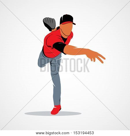 Baseball player on a white background. Vector illustration.