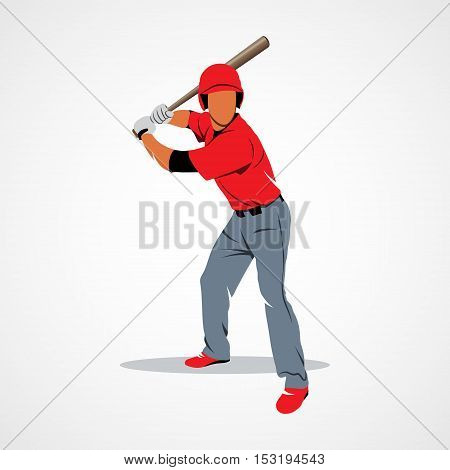 Baseball player hit the ball on a white background. Vector illustration.