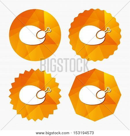 Chicken sign icon. Hen bird meat symbol. Triangular low poly buttons with flat icon. Vector