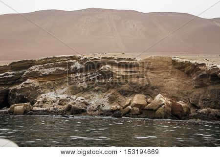 The Paracas Candelabra also called the Candelabra of the Andes is a well-known prehistoric geoglyph found on the northern face of the Paracas Peninsula at Pisco Bay in Peru. The design is cut two feet into the soil with stones possibly from a later date p