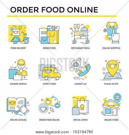 Order food on line icons, thin line, flat design