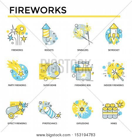 Fireworks icons, thin line, flat design