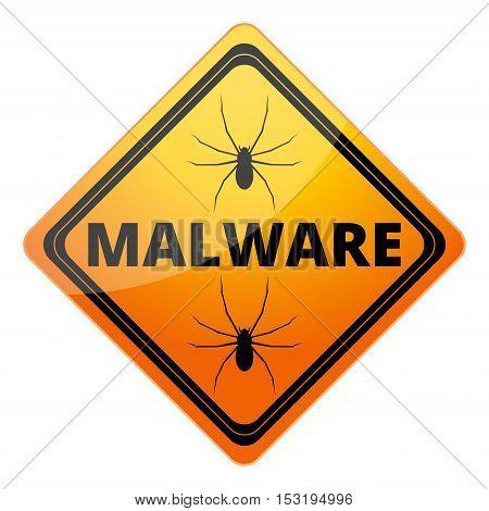 Malware Attention Hazard sign on white background