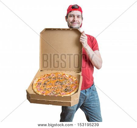 Pizza Delivery Concept. Young Smiling Guy Is Delivering Tasty Pi