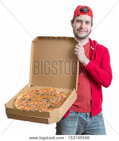 Pizza Delivery Concept. Young Man Is Holding Boxes With Pizza. I