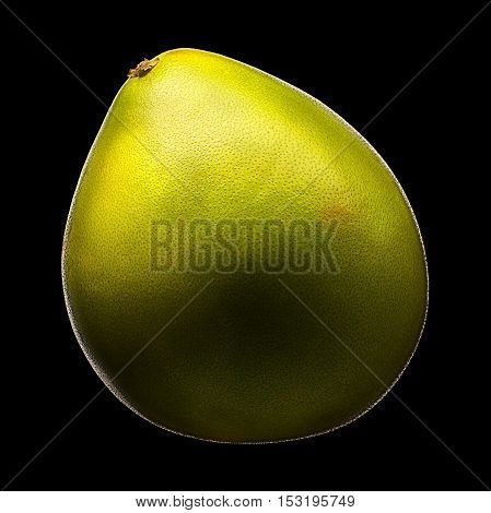 Green pomelo citrus fruit isolated on black background. With clipping path.