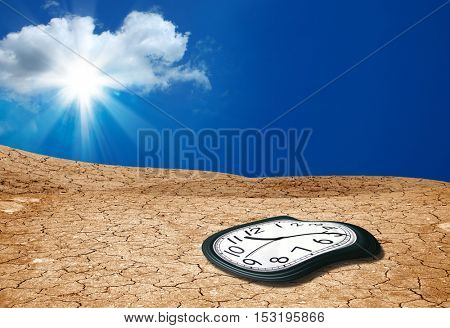 close up shot of  melted clock and cracked landscape