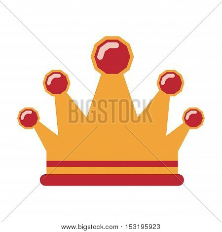 gold crown with red details. royal luxury accessory over white background. vector illustration