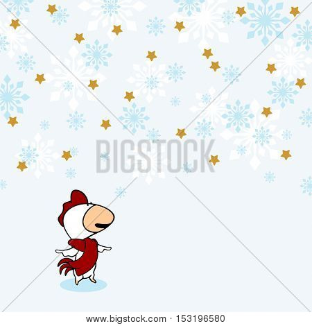Little Rooster under snow