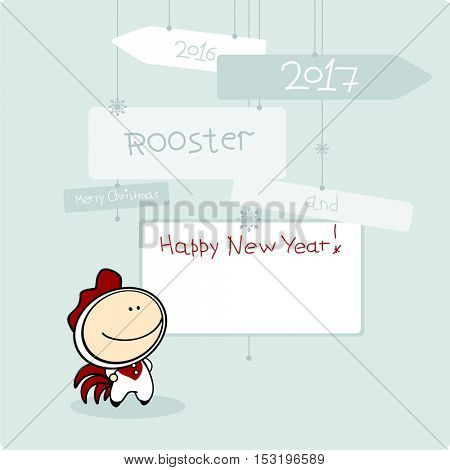 Merry Christmas and Happy New Year card with Rooster