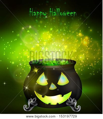 Halloween witches cauldron with Jack O Lantern face and green potion on dark background, illustration.